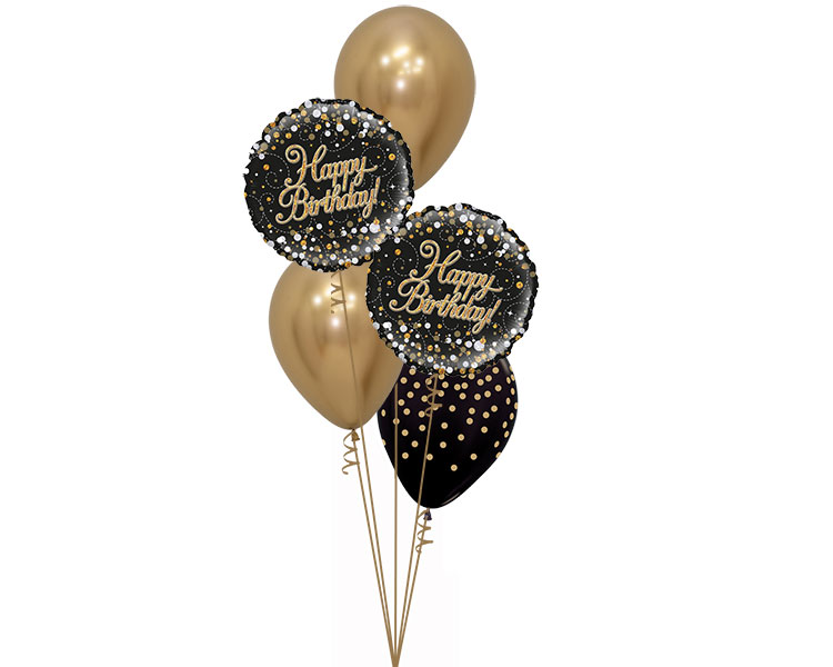 Ballonboeket Birthday Black Gold Confetti