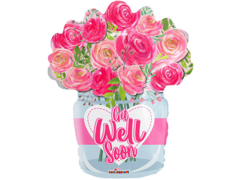 get well soon boeket roze rozen