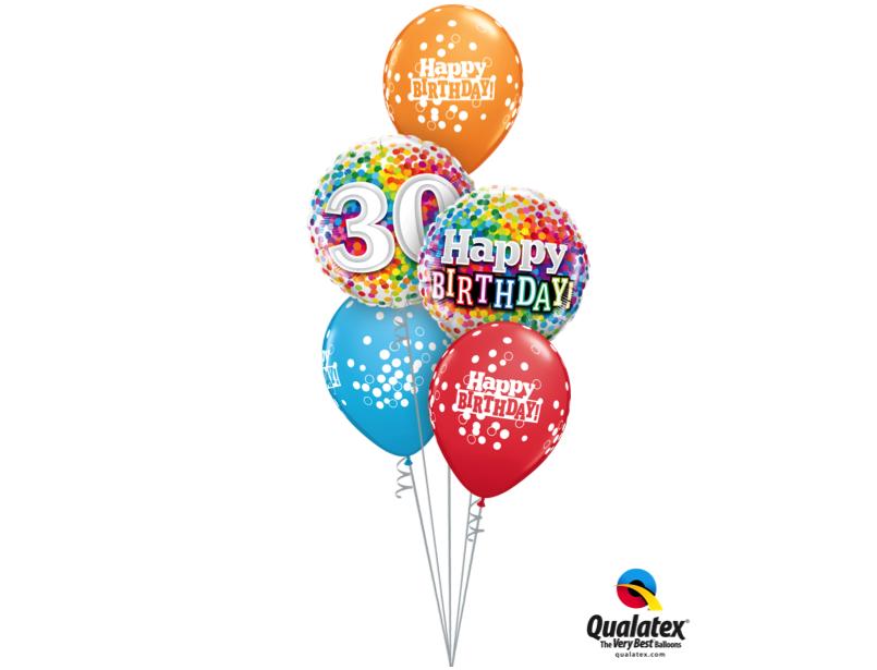 Ballonboeket Happy Birthday Confetti 30
