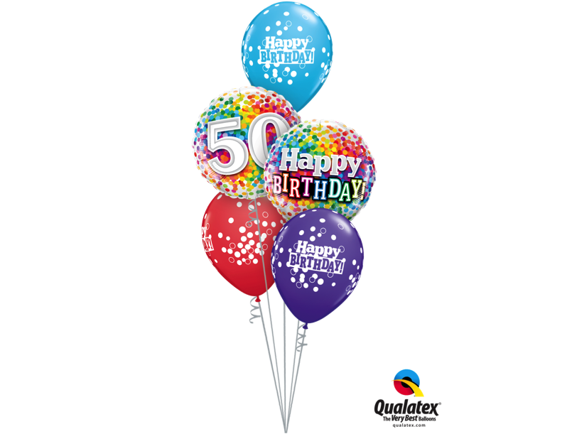 Ballonboeket Happy Birthday Confetti 50