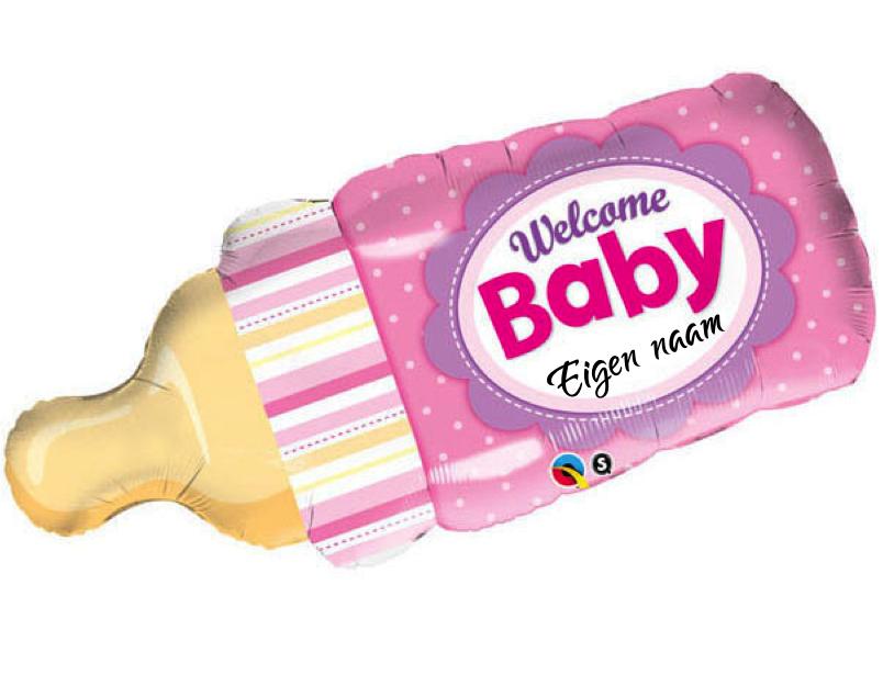 Welcome Baby Girl Fles met eigen naam