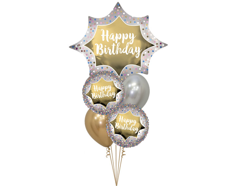 Ballonboeket Happy Birthday Satin Gold Burst
