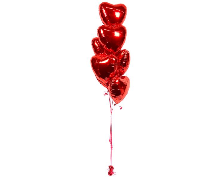 Ballonboeket red hearts