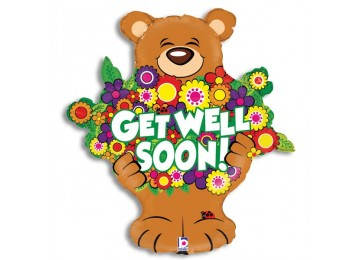 Get Well Soon Bear with flowers